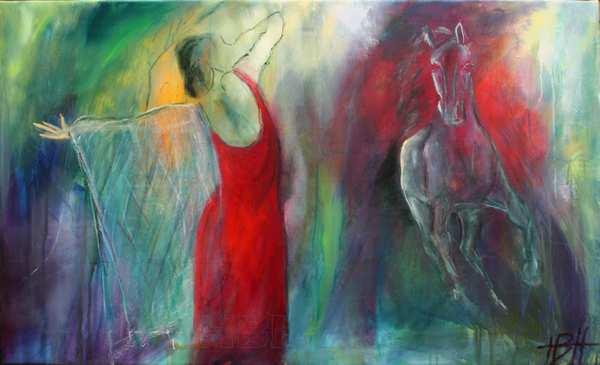 maleri af kvinde og hest. Hun har rød kjole og sjal - eller net. Hesten løber over mod hende.
