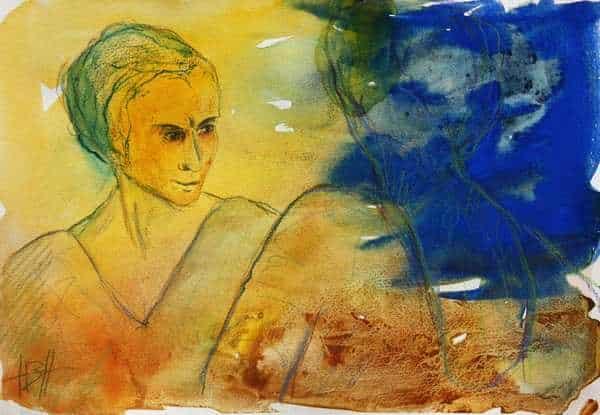 akvarel i blå og gule farver af kvinde, der ser sig i spejlet