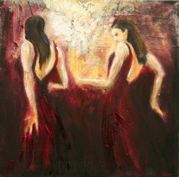 maleri af flamencodansere foran et spejl. Hun danser med sit spejlbillede