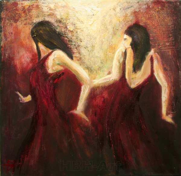 maleri af to dansende kvinder eller en kvinde, der danser med sit spejlbillede