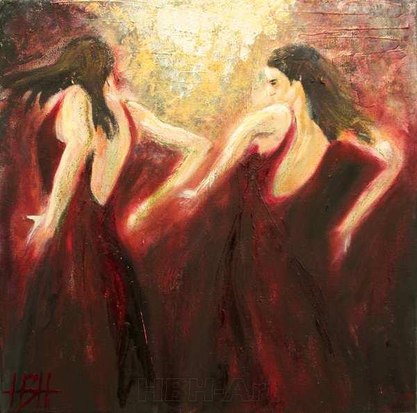 maleri af at danse flamenco. En kvinde danser foran et spejl
