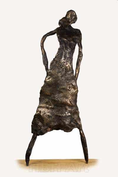 Cire perduestøbt flad bronzeskulptur af flamencodanser