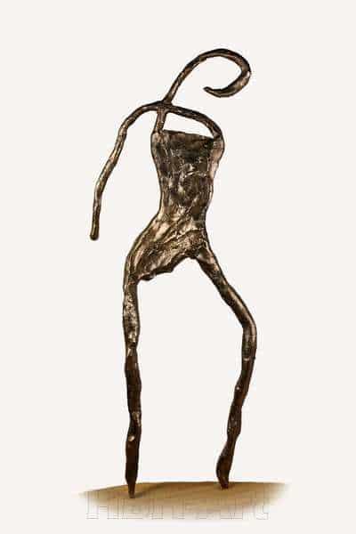 Cire perduestøbt bronzeskulptur af stiliseret flamencodanser