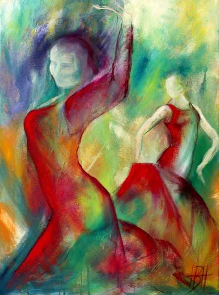 abstrakt maleri af kvinder, hvor motiv og baggrund smalter sammen