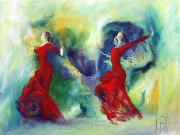 Maleri af røde dansere mod en farverig levende baggrund