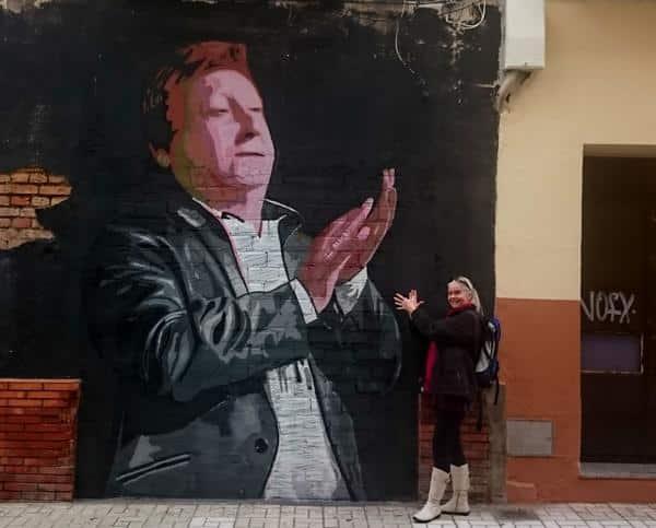 Mur maleri i Malaga af en flamencosanger