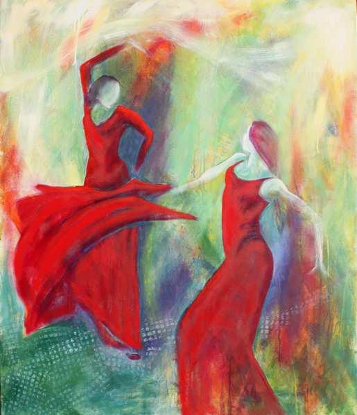 maleri af to dansere i bevægelse