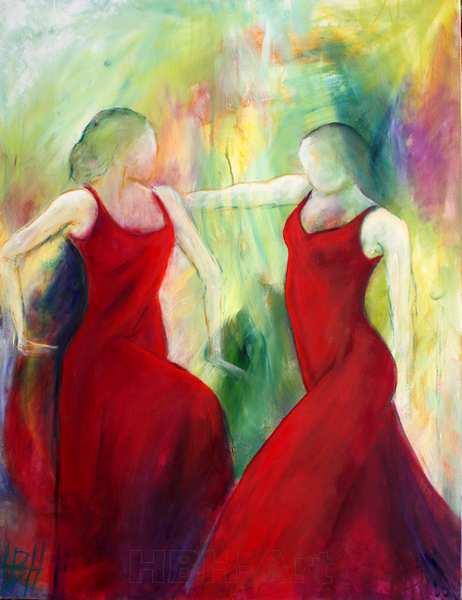 maleri af røde damer der danser flamenco sammen