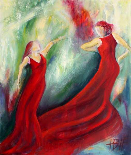 maleri af kvinder i røde kjoler med tungt stof der flyder sammen