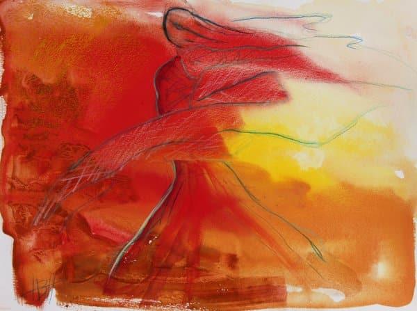 Akvarel i varme farver gul, rød og orange af flamencodanser med sjal