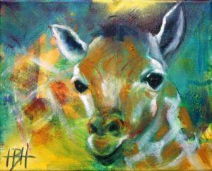 Maleri af girafunge, hvor moderen skimtes som struktur i baggrunden