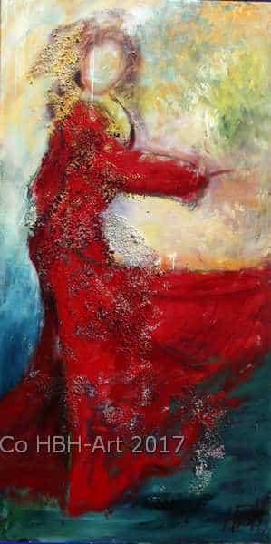 rødt maleri af flamencodanser. Passer på en smal væg