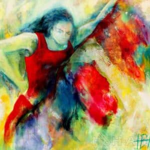 Oliemaleri af flamencodanser med brusende skørt i mange farver. Kollagevirkning med et indlagt guldnet