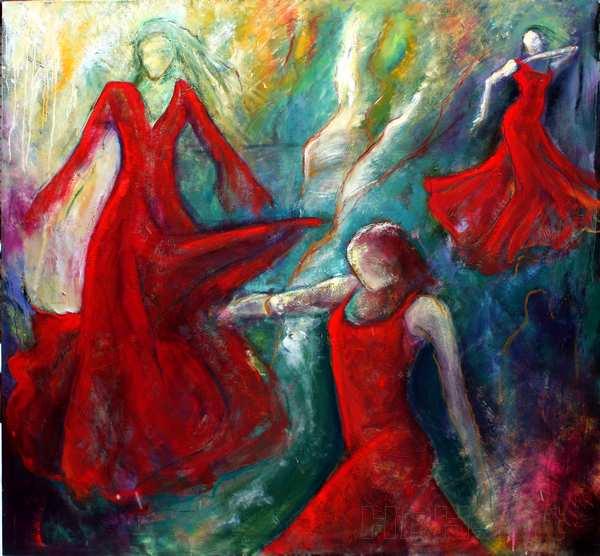 Stort Dansemaleri af flamencodansere