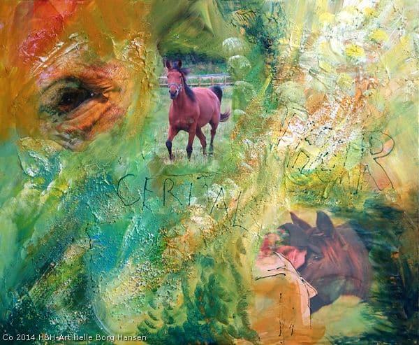 Personligt maleri malekursus - maleri med fotos af heste lagt ind i farverig baggrund