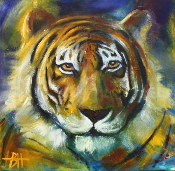 Maleri af tiger i blå og gyldne farver. Malet som totemdyr
