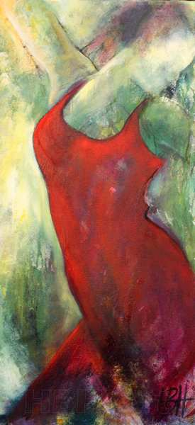 maleri af kvinde i rød kjole i smalt højformat