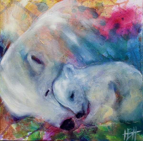 maleri af isbjørn og unge, der ligger sammen og sover