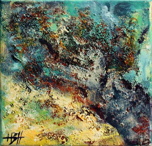 Farverigt maleri af træ med struktur og stoflighed