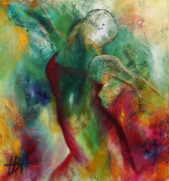 kvinde abstrakt maleri hvor kvinden er skitseret som en del af baggrunden