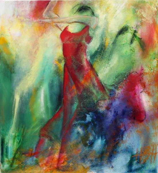 Abstrakt maleri af kvinde, hvor baggrunden er en del af kvindens rødekjole