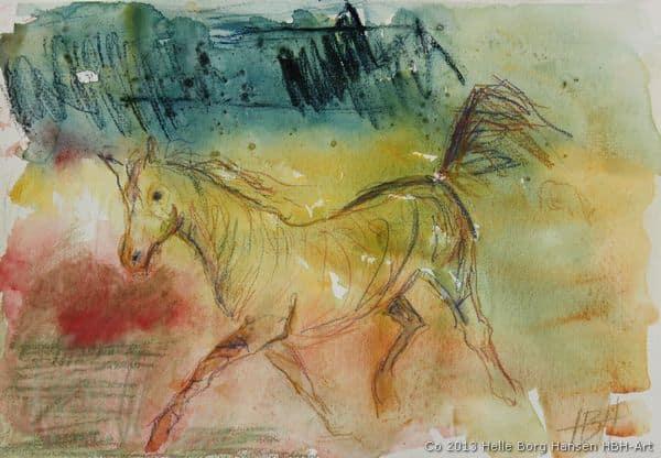 Akvarel af araber hest i trav
