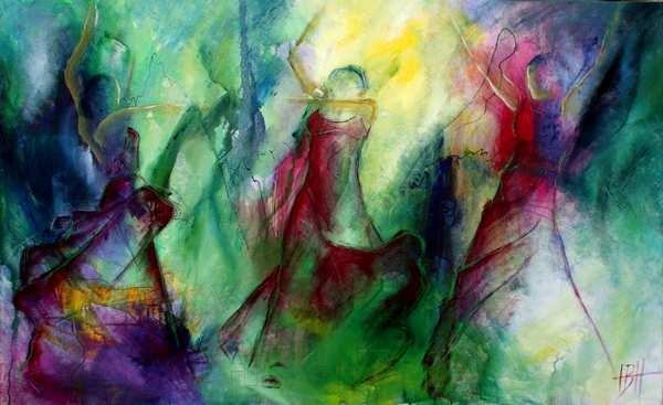 abstrakt maleri af kvinder, hvor kvinderne er skitseret sådan at baggrunden lyser igennem