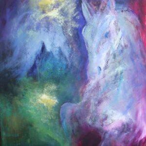 maleri af hest og drømmeslottet i blå og violette farver