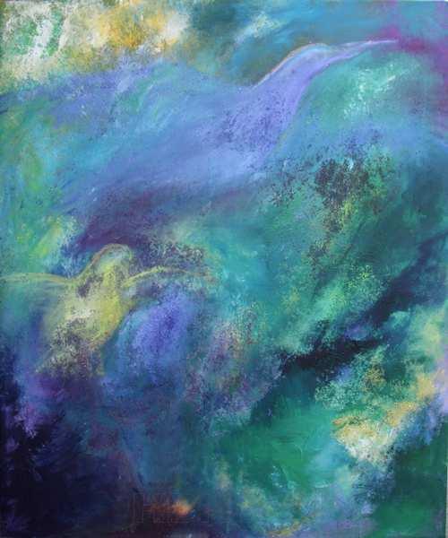 Abstrakt maleri i blå, grønne og lyse gule farver med svage motiver af fugle
