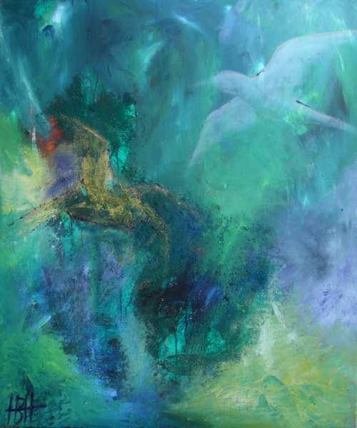 Abstrakt maleri i blå og grønne farver med svage motiver af fugle