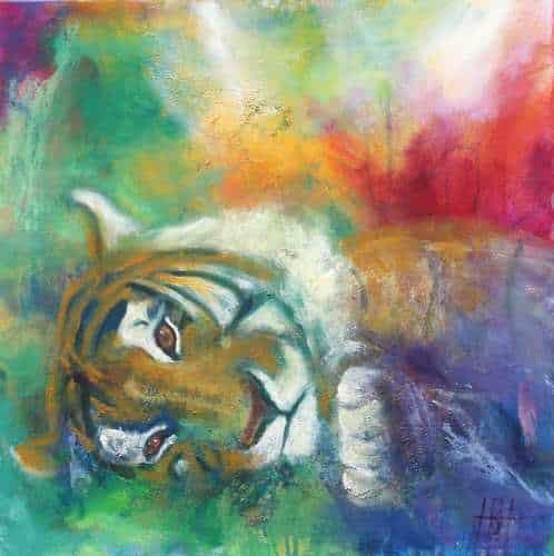 kunstkort 15 X 15 cm med print af liggende tiger med farverig baggrund. Originalmaleriet er også til salg