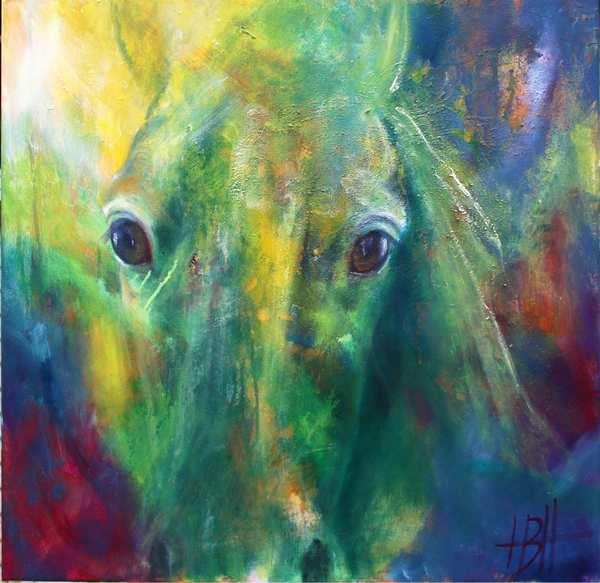 Maleri af hest i blå og grønne farver