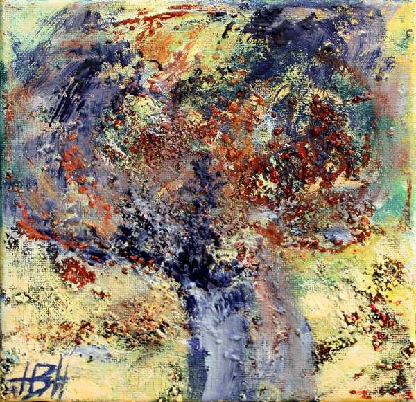 Halv-abstrakt maleri af træ med mange farver og masser af struktur