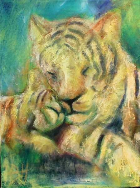 maleri af tiger og unge