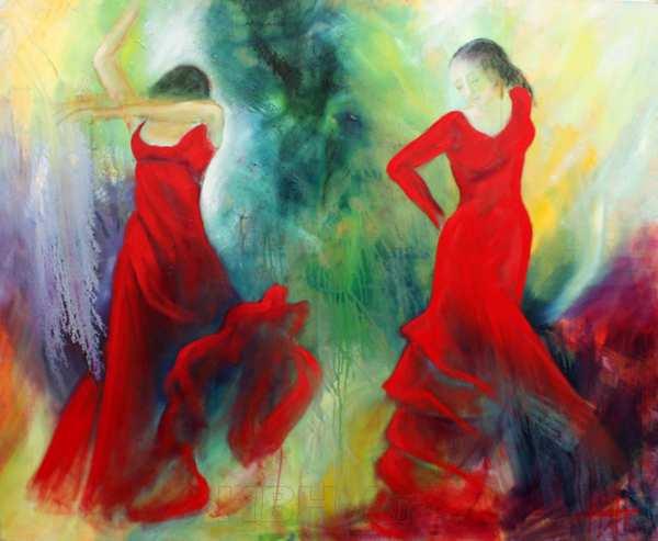 Stort maleri af dansende kvinder i røde kjoler
