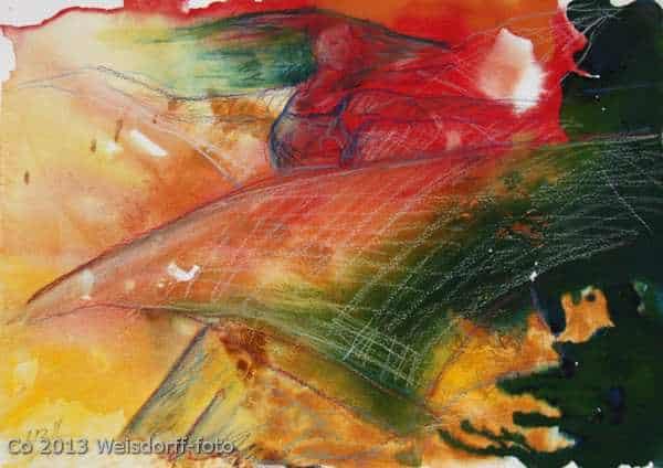 Akvarel med danser i bevægelse i stærke farver