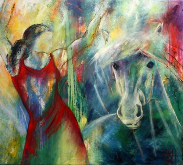 maleri af hest og kvinde på en farverig baggrund