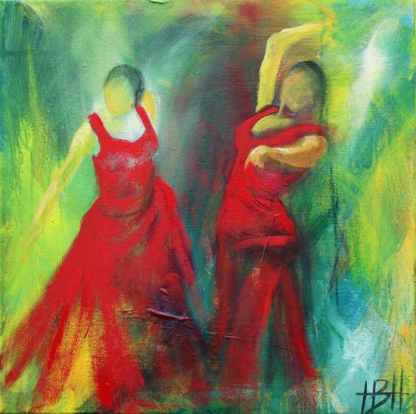 Farverigt dansemaleri af kvinder i rødekjoler mod grøn baggrund som komplementær