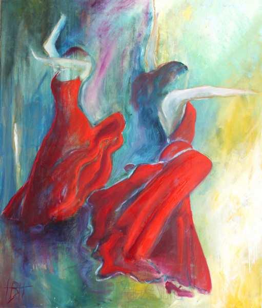Maleri af kvinder i røde flamencokjoler mod en lys og mørk baggrund