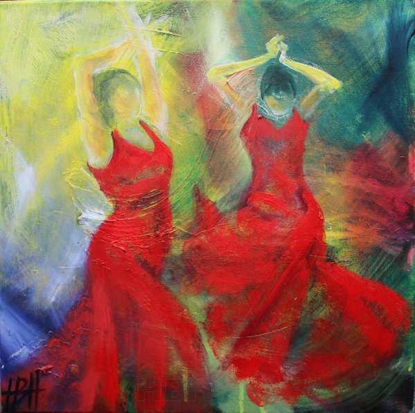 farverigt maleri af dansende kvinder i cadmiumrøde kjoler