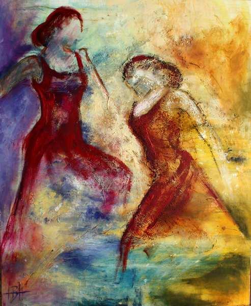 abstrakt kvindemaleri hvor to dansende kvinder er skitseret oven på et fantasilandskab