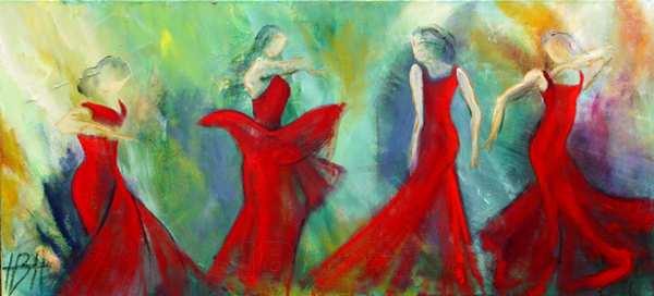 maleri af 4 dansende kvinder i røde kjoler