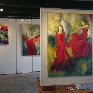 Udstilling af kunst-malerier i Galleri Søgaard i Ganløse
