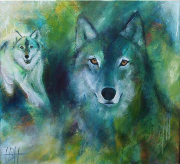 Maleri af ulv som totemdyr og kraftdyr. Det er malet som bestilling til en lille dreng som har fået kunst til børneværelset