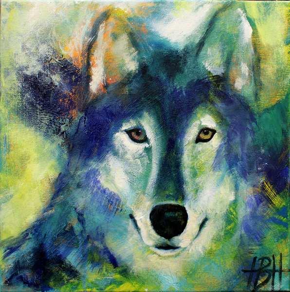 Lille maleri af ulv, der kigger direkte på dig