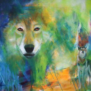 Maleri af ulve - et ulvehoved og en hel ulv på en farverig baggrund. Ulven kigger direkte på dig