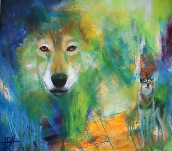 Dyremalerier Maleri af ulve - et ulvehoved og en hel ulv på en farverig baggrund. Ulven kigger direkte på dig
