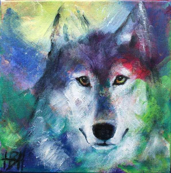 lille maleri af ulv i kølige farver
