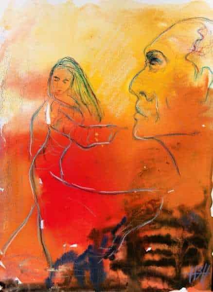 Akvarel på papir af flamencodanser med et ansigt i forgrunden
