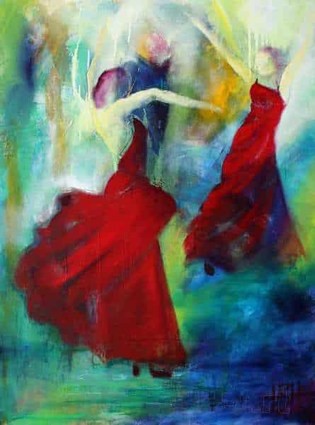Maleri af to dansere dansere i røde kjoler på en farverig baggrund